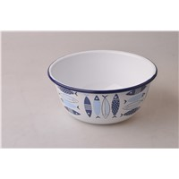 Fish Enamel Cash Bowl Metal Salad Bowl