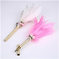 Unique Pink Feathers Top Signature Pen with Elegance Design for Wedding/Advertisement Gift