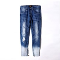 Mens Fashion Blue Ripped Slim Fit Denim Jeans with Zipper at Ancle