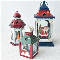 European Vintage Iron Art Home Courtyard Santa Claus Snowman Christmas Lantern Candle Holder Decoration