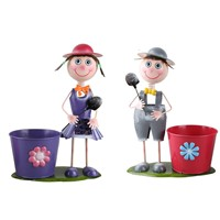 Metal Pot Garden Planter, Iron Boy Girl Figures Garden Flower Pot