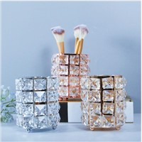 Gold/Sliver/Rose Gold Metal with Crystal Beaded Pen Cosmetic Brush Holder