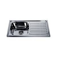 Turkmenistan Hot Sale 75*40CM Polish Single Bowl with Drainboard Kitchen Sink 7540S