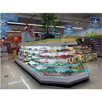 Supermarket Upright Refrigerated Showcase Vegetable Fruit Cabinet