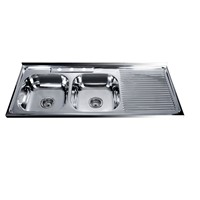 Boliva Hot Sale 1200*500mm Double Bowl with Drainboard Stainless Steel Sink 12050