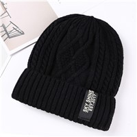 High Quality Mens Custom Beanie Leather Patch Beanie Hats Wholesale Plain Knitted Beanie
