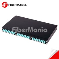 1u 19 Inch Fixed Fiber Optic Patch Panel, Loaded with 24 LC Duplex Om3 Multimode Adapters