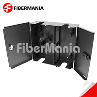 Wall Mount Fiber Enclosure Holds 4 Lgx Adapter Panels with Double Doors Black