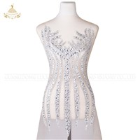 Beaded Applique Bridal Lace Trimming Crystal Patches Bodice Rhinestone Applique