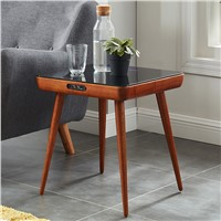 Smart Living Room Table with 2.1 Wireless Speaker Charger Coffee Table with Glass