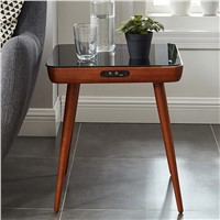 Side Table Plywood Dark Walnut Tempered Tempered Glass Multifunction Living Room Speak Coffee Table