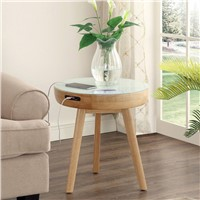 Small Round Corner Table with Wireless Speaker Charger Snack Coffee Table