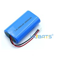 Hubats 7.4V Lithium Battery 18650 2000mAh 2s1p Li-Ion Rechargeable Battery Pack with Cable Connector for LED Light/Heate