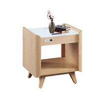 Sofa End Table Oak Veneer Natural Volor with Solid Ash Leg 2.1 Wireless Speaker Charger Coffee Table