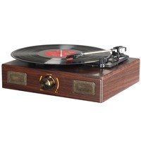 LuguLake Vinyl Record Player, Turntable with Stereo 3-Speed, RCA Output, Vintage Phonograph with Wooden Finish
