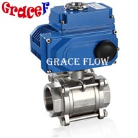 12v 24v 110v 220v 380v Electric Actuated 3pcs Thread Stainless Steel Ball Valve