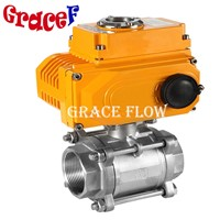 Npt Thread 3pcs Ball Valve with Electric Actuator