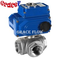 Stainless Steel Npt Thread 3 Way Ball Valve with 12v 24v 110v 220v 380v Electric Actuator