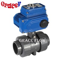 2 Inch 12v 24v 110v 220v 380v Double Union Motorized PVC Ball Valve
