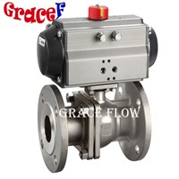 Flanged Stainless Steel Valve with Double Acting or Spring Return Pneumatic Actuator