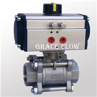 "1"" 2"" Pneumatic Actuated Stainless Steel Npt Thread Ball Valve"