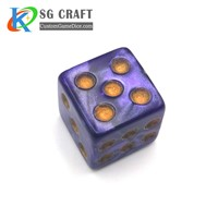 Acrylic Colorful Board Game Dices with Yellow Dots