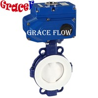 24v 110v 220v 380v Electric Actuated PTFE Butterfly Valves for Corrosive Chemical Industry