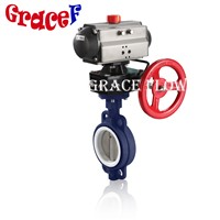 PTFE Lined Double Acting & Spring Return Pneumatic Butterfly Valve Wafer