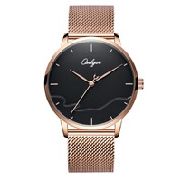ONLYOU Fashion Lovers Watch Luxury Quartz Watches Special Genuine Leather for Ladies Black Couple Wristwatc