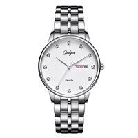ONLYOU Fashion Diamond Women Watch Stainless Steel Band Wristwatch Week Display Ladies Dress Watches