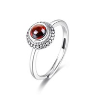 Handmade Modern Garnet Stone Jewelry Red Garnet Flower Dress Ring Sterling Silver