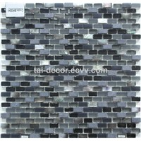 Modern Home Decor 15x30mm Strip Sea Shell Blue Shell Mix Glass Mosaic Tile