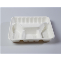 4-Comp Quality Disposable Biodegradable Tray(Waterproof, Oil-Proof, Fit to Microwave)