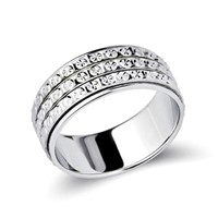 Three Rows Babysbreath Carved Turn Rings Custom Fashion Jewellery Turning Pave Band Ring In Silver