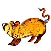 1000ml Handmade Rat Mouse Animal Shaped Glass Whisky Wine Alcohol Glass Bottle