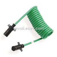 Trailer Connector Coiled Green Cable Truck ABS Power Cord 7 Core