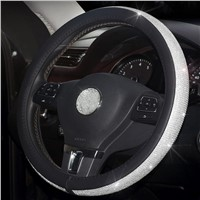 Hot New Lilancrystal Auto Car Steering Wheel Cover PU Leather w/ Cool Bling Rhinestone 38cm Steering Wheel Cover