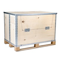 Custom Collapsible Wooden Plywood Storage Box with Steel Strip