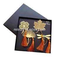 Copper Bookmark with Tassels 4PCS Per Set Packed with Red Display Box & Outer Carton