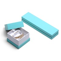 Box for Jewelry Packaging Cardboard Gift Box with Lid Blue Box for Ring Necklace Bracelets
