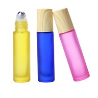 Colorful Essential Oil Empty Perfume Bottle Roller Ball Thick Glass Roll on Bottles 10ml with Wood Grain Cap