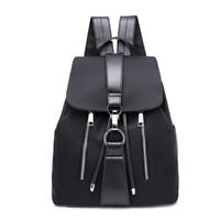 Waterproof Nylon Anti Theft Women Backpacks Female Travel Rucksack School Bags for Teenage Girls Black Drawstring Bag
