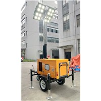 Outdoor Diesel-Powered Mobile LED Lighting Tower with 9 Meter Auto Extendable Pneumatic Mast 100L Tower