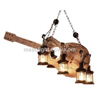 Chinese Wooden Guitar Parts Wood Pendant Lamp Stand Light Fixture