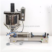 Semi-Auto Pneumatic Paste Filling Machine Jam Ketchup Yogurt Cosmetic Cream Filling Machines with Heating Mixer