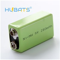 Hubats 9V 280mAh Ni-MH 9 Volt 280mah 6F22 Rechargeable Battery for Smoke Alarms, Professional Audio