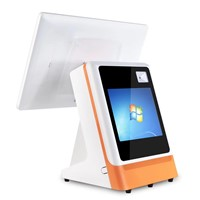 Newest Windows Cash Register 15.6+12inch Dual Screen POS Cash Register with Thermal Printer