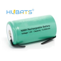 Hubats Ni-MH D 10000mAh 1.2v Rechargeable Battery High Drain D Cell Batteries for Flashlight, Medical