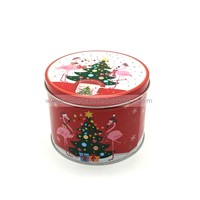 Christmas Round Metal Tin Can Packing Empty Cookie Tin Gift Boxes