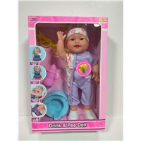 14 Inches Doll Toy with Drink Water & Pee, Baby Doll Set